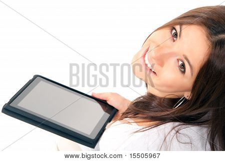 Woman Hold New Electronic Tablet Touch