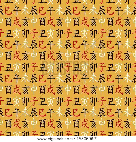 Set of chinese feng shui hieroglyphs seamless pattern. Translation of 12 zodiac animals, feng shui signs hieroglyph- Rat, Ox, Tiger, Rabbit, Dragon, Snake, Horse, Goat, Monkey, Rooster, Dog, Pig