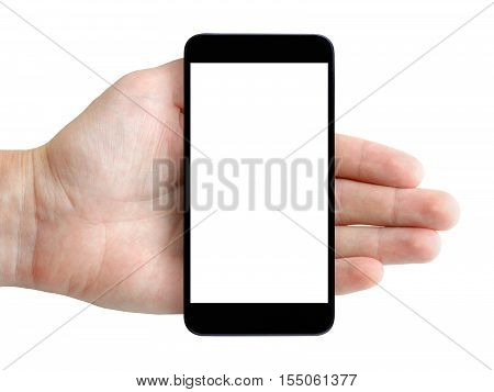 Smartphone in hand isolated on white background