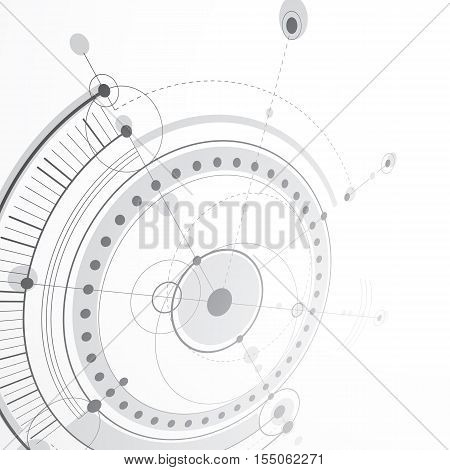 3d engineering technology vector backdrop. Futuristic technical plan mechanism. Monochrome mechanical scheme dimensional abstract industrial design can be used as website background.