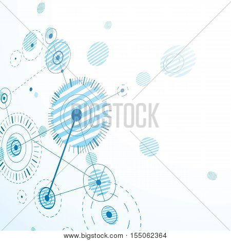 Bauhaus retro perspective blue art vector background made using lines and circles. Geometric graphic 1960s illustration can be used as booklet cover design.