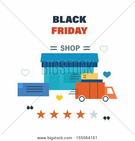 Black Friday Sale Banner Template with order of the goods, the cargo delivery process, ratings and reviews of the store, special offers and discounts for shopping, mobile devices, online shop.