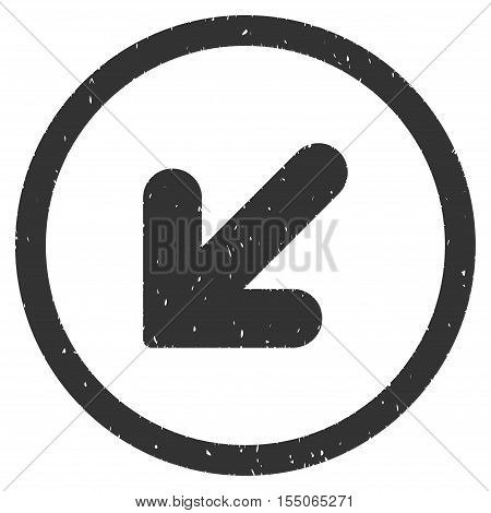 Arrow Down Left rubber seal stamp watermark. Icon vector symbol with grunge design and corrosion texture. Scratched gray ink sign on a white background.