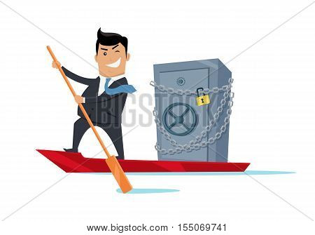Escape with money concept vector. Flat design. Success. Financial crime, tax evasion, money laundering, political corruption illustration. Smiling man in business suit sailing away on boat with safe.