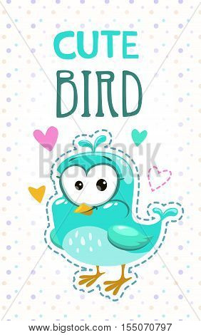 Cute girlish t shirt print template with funny blue bird. Vector childish illustration.