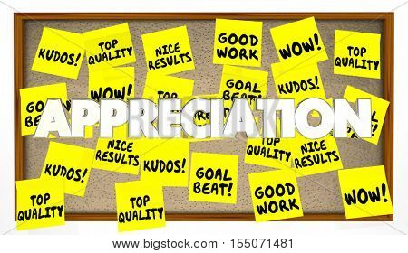 Appreciation Praise Thanks Recognition Notes 3d Illustration