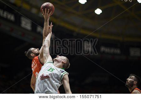 VALENCIA, SPAIN - NOVEMBER 2nd: (L) Diot, 15 Hrovat during Eurocup match between Valencia Basket and Union Olimpija Ljubljana at Fonteta Stadium on November 2, 2016 in Valencia, Spain