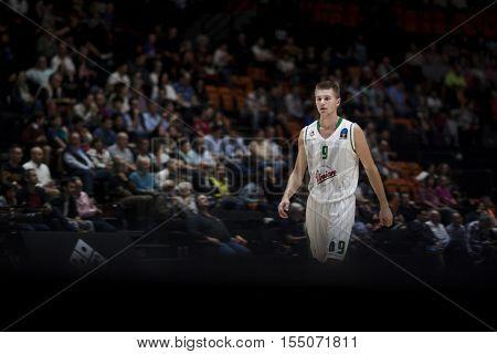 VALENCIA, SPAIN - NOVEMBER 2nd: Blaz Mesicek during Eurocup match between Valencia Basket and Union Olimpija Ljubljana at Fonteta Stadium on November 2, 2016 in Valencia, Spain