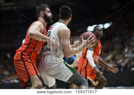 VALENCIA, SPAIN - NOVEMBER 2nd: Jankic with ball during Eurocup match between Valencia Basket and Union Olimpija Ljubljana at Fonteta Stadium on November 2, 2016 in Valencia, Spain
