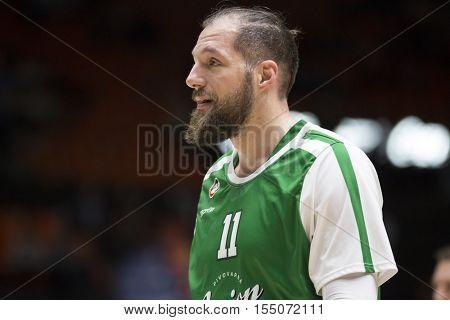 VALENCIA, SPAIN - NOVEMBER 2nd: Stevan Milosevic during Eurocup match between Valencia Basket and Union Olimpija Ljubljana at Fonteta Stadium on November 2, 2016 in Valencia, Spain