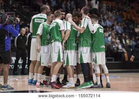 VALENCIA, SPAIN - NOVEMBER 2nd: Olimpija players during Eurocup match between Valencia Basket and Union Olimpija Ljubljana at Fonteta Stadium on November 2, 2016 in Valencia, Spain