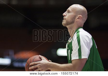 VALENCIA, SPAIN - NOVEMBER 2nd: Mirko Mulalic during Eurocup match between Valencia Basket and Union Olimpija Ljubljana at Fonteta Stadium on November 2, 2016 in Valencia, Spain