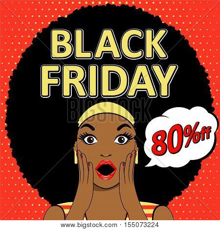 Black Friday sale design template. Black Friday banner with surprised woman face. Vector. Pop art surprised woman face with open mouth. Pop art illustration surprised girl for Black Friday.