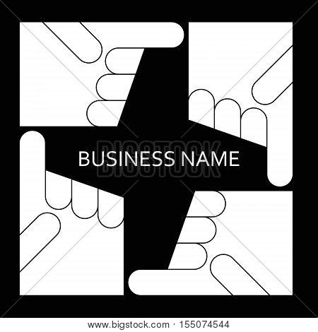 Hand pointing direction. Logo business. Vector line
