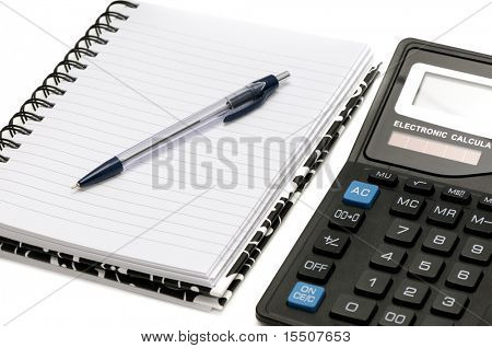 Notebook and calculator isolated on a white background