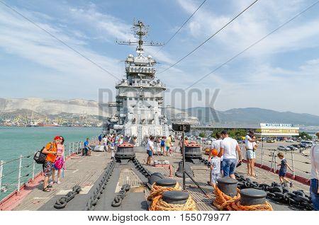 Novorossiysk Krasnodar Krai Russia - August 28 2016. Cruiser Mikhail Kutuzov was built in Nikolaev in 1951 launched on 29 November 1952 was enrolled in the Black Sea Fleet on 31 January 1955 became a the museum on the Shore Promenade of Novorossiysk on 28