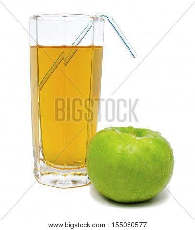 Glass of apple juice with green apple and tubule isolated on white background