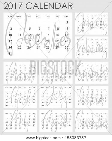 Calendar 2017 - Vector template. Creative artistic monthly calendar with hand lettering. Simply design on white. For planners and organizers - 4 x 6 inches month background. Weeks starts sunday