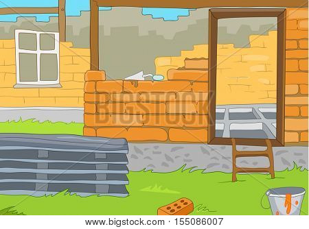 Hand drawn cartoon of construction site in countryside. Colourful cartoon of house construction. Cartoon of construction of new residential house from bricks. Background of unfinished brick house.
