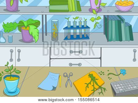 Hand drawn cartoon of chemical laboratory exploring plants. Colourful cartoon of chemical laboratory workplace with test tubes and sprouts. Background of working place of scientist in laboratory.