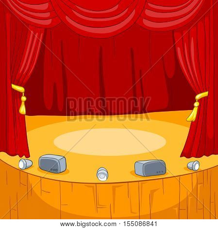 Hand drawn cartoon of theater stage. Cartoon background of empty concert stage. Colourful cartoon of background of theater stage with curtains and spotlights. Cartoon background of theatrical scene.