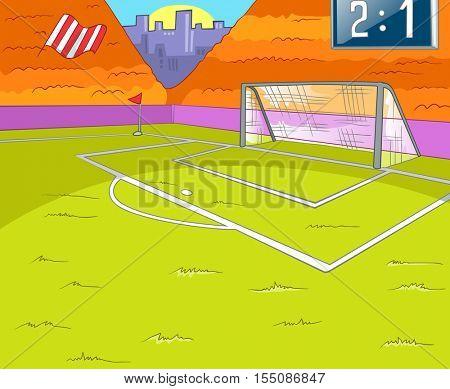 Hand drawn cartoon of sport infrastructure. Cartoon background of stadium. Background of football stadium. Cartoon of soccer stadium. Cartoon of soccer field with gate. Background of football arena.