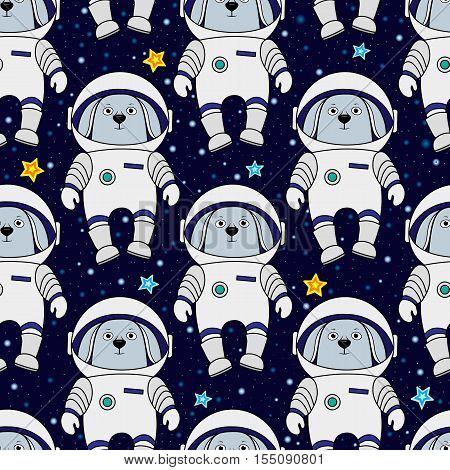 Rabbit astronaut and stars in space, cartoon style vector seamless patternv for textile, cover, wrapping paper, prints. Cute hare, rabbit as spaceman in starry space, seamless pattern