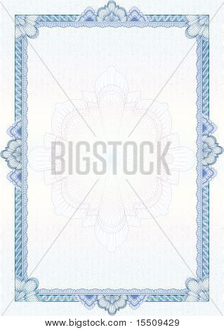 Classic Guilloche Border For Diploma Or Certificate / Vector/ A4 Vertical / Cmyk Color / Layers Are