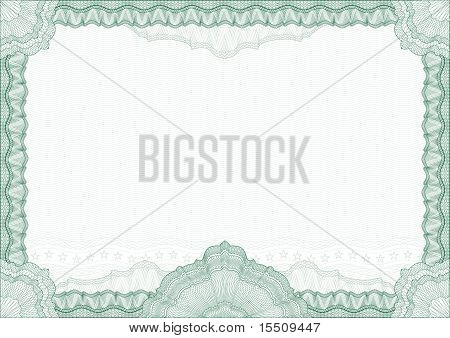 Classic Guilloche Border For Diploma Or Certificate With Protective  Ornament  / Vector/ A4 Horizont