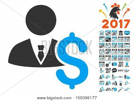 Banker icon with bonus 2017 new year images. Vector illustration style is flat iconic symbols, modern colors.