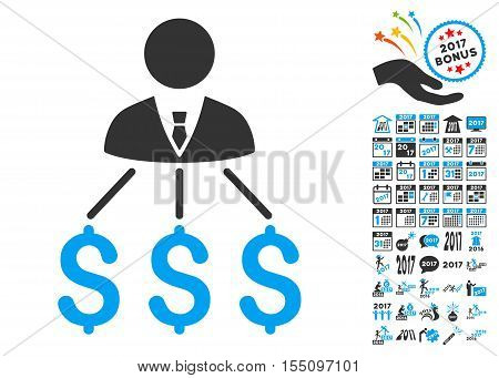 Businessman Expenses pictograph with bonus 2017 new year symbols. Vector illustration style is flat iconic symbols, modern colors.