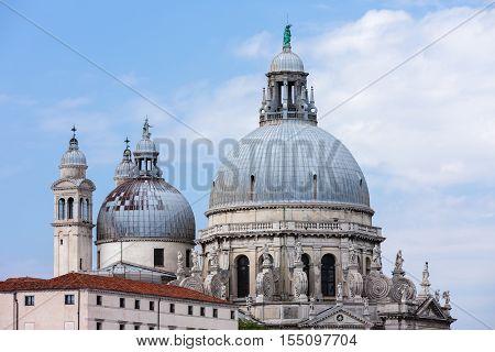 Punta della Dogana art museum and Basilica Saint Mary of Health, Venice, Italy