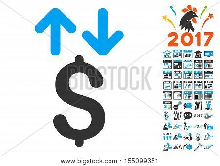 Dollar Transactions pictograph with bonus 2017 new year graphic icons. Vector illustration style is flat iconic symbols, modern colors.