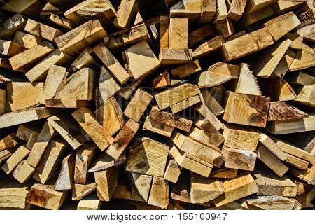 Wood at the depot cut the log and ready for sale.