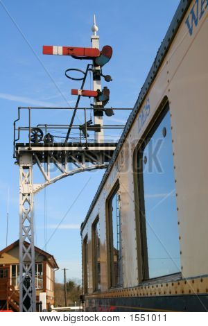 Vintage Railway Carriage & Signals (1224)