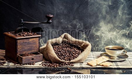 Smell of vintage brewing coffee on black background