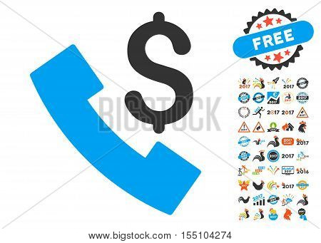 Payphone icon with bonus 2017 new year clip art. Vector illustration style is flat iconic symbols, modern colors.