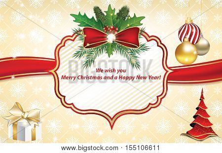 Christmas and New Year greeting card with Christmas tree, Christmas baubles, holly berries, jingle bells. Print colors used. Size of a greeting card: 5'' 7