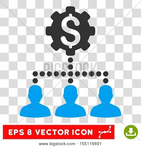 Industrial Bank Clients EPS vector pictogram. Illustration style is flat iconic bicolor blue and gray symbol.