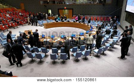 New York United States. August 25th 2016: The Security Council Chamber during preparation for session. It is located in the United Nations Conference Building.