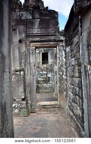 Ancient Bayon Temple At Angkor Wat Siem Reap Cambodia