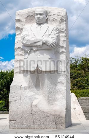 WASHINGTON D.C.,USA - AUGUST 14,2016 : The Martin Luther King Jr. National Memorial next to the Tidal Basin in Washington D.C.