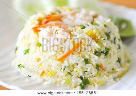 stir-fried rice with shrimp and vegetable dish