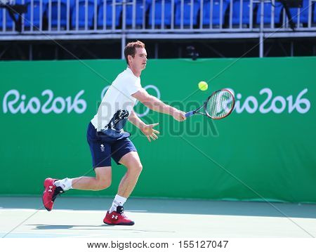 RIO DE JANEIRO, BRAZIL - AUGUST 4, 2016: Olympic champion Andy Murray of Great Britain in practice for Rio 2016 Olympic Games at the Olympic Tennis Centre in Rio de Janeiro