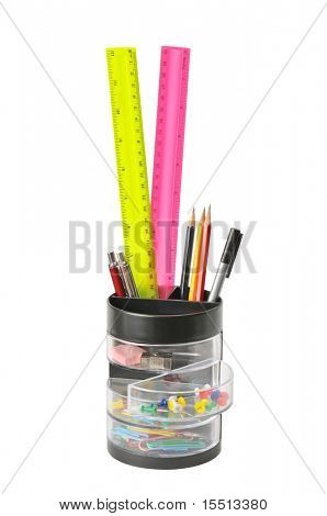 stationery in glass isolated on a white