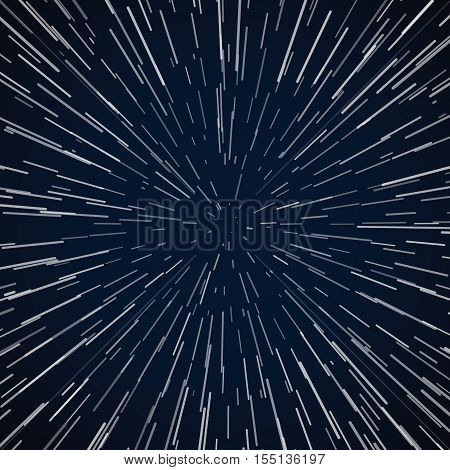 Warp stars zoom blue galaxy war vector abstract background. Space and universe to speed travel illustration