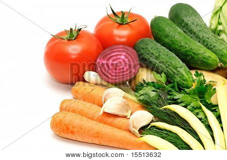 vegetables on a white