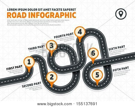 Street, road business marketing vector infographics template with pin signs. Business map banner for growth and development illustration