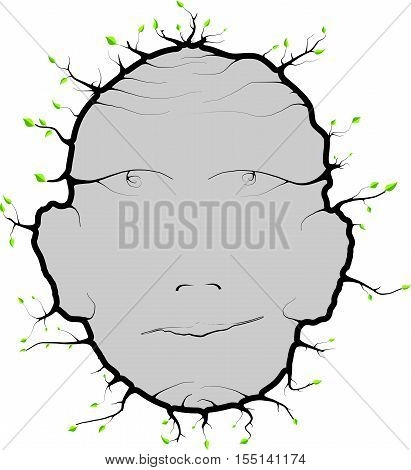 Human head with leaves recessed roots for future usee