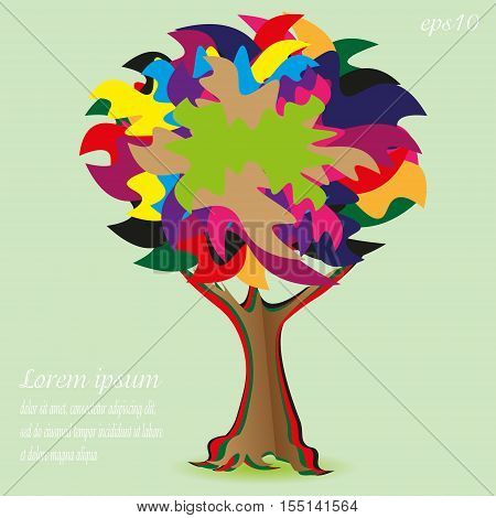 Patchwork Tree card or logo Design abstraction picture plant fluffy bright krone high trunk curl funny root text background eps10 vector illustration Stock author handmade Projects